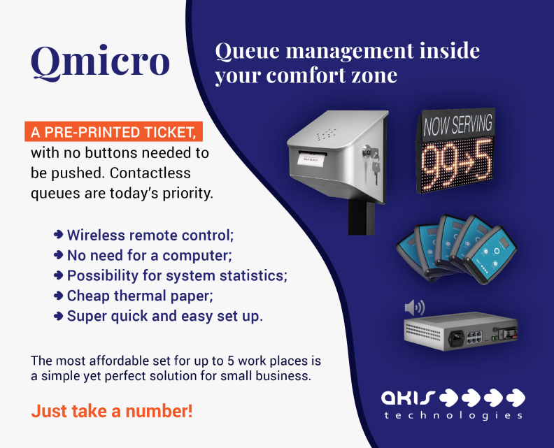 queue management system qmicro from akis technologies is also digital queue system for customer flow management for customer experience and voice menu that has face recognition and internet reservation or online reservations Image